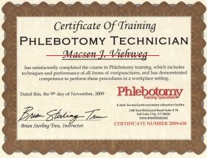 phlebotomy training certificate example