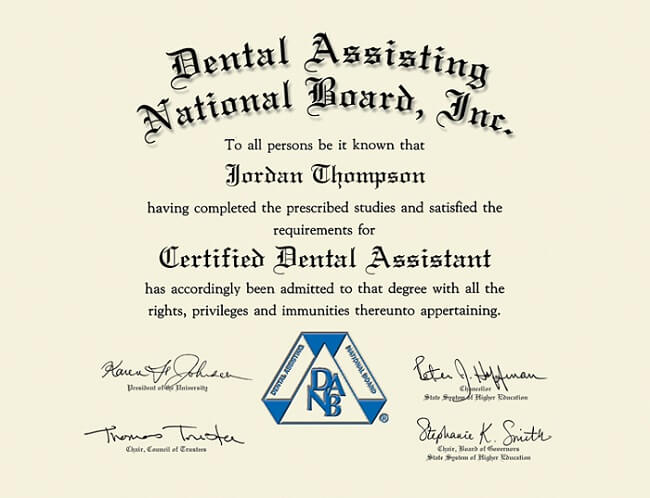 Dental Assistant Certification Example