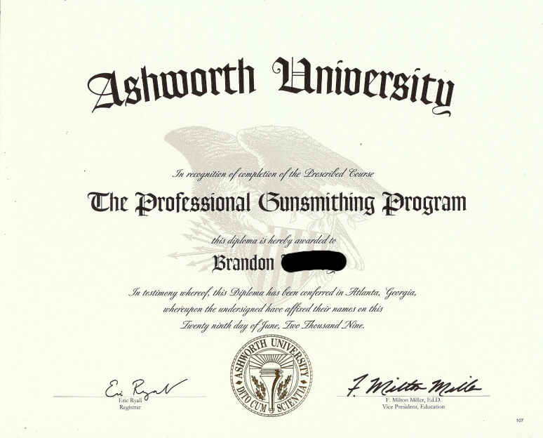 Gunsmithing Certification