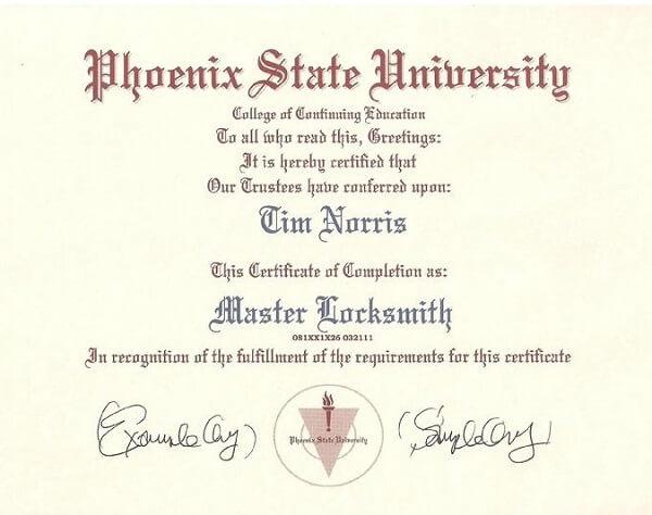 Locksmith Certificate