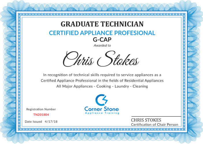 appliance repair technician certificate example