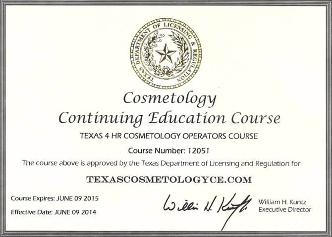 cosmetologist certification example