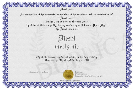 diesel mechanic certificate example