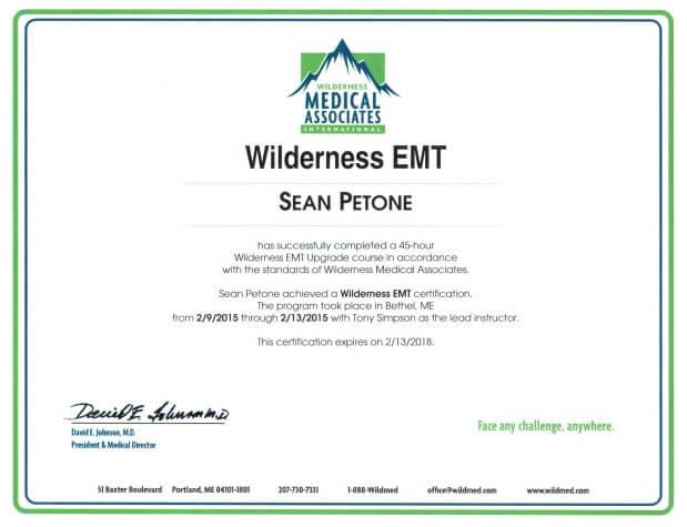 EMT certificate example