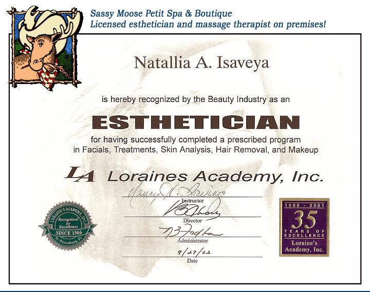 esthetician certificate example