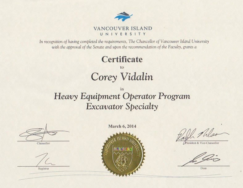 heavy machine operator certificate example