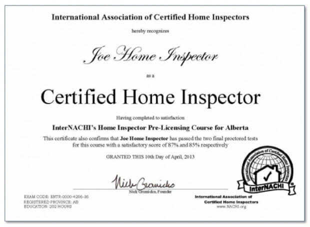 home inspector certificate example