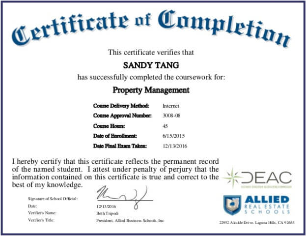 property management certificate example