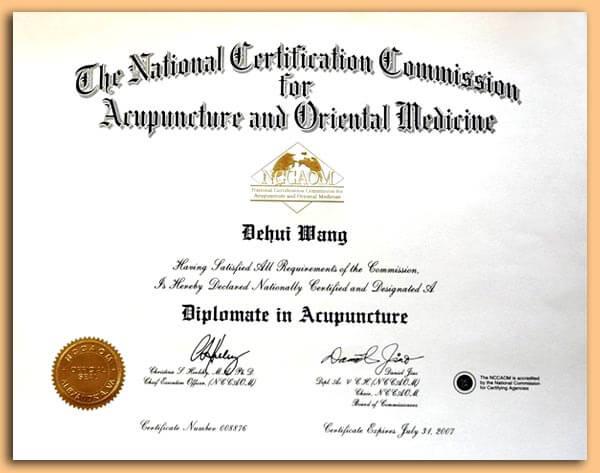 acupuncture certificate