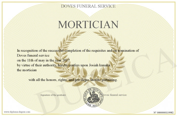mortician certificate example