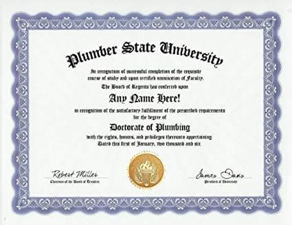 plumber certificate example