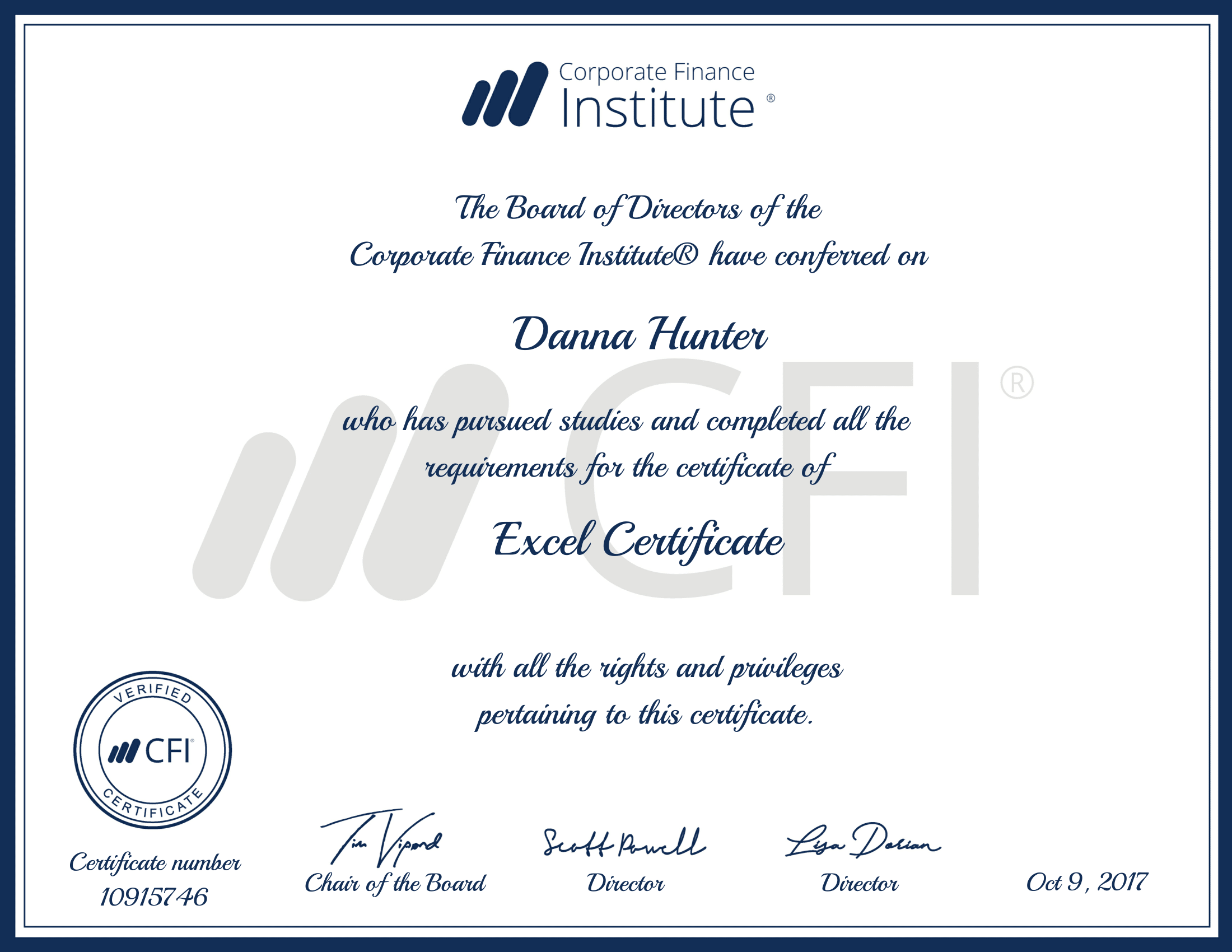 excel certificate