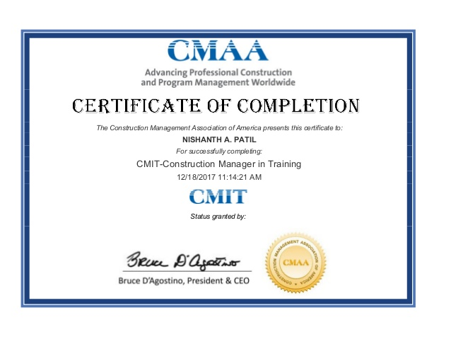 Construction Manager Certificate