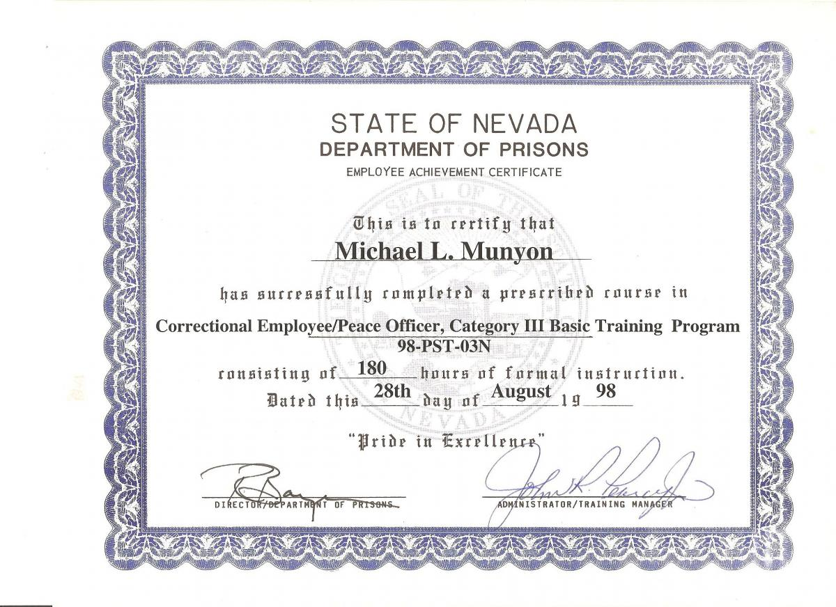 Correctional Officer Certificate