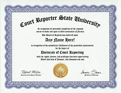 court reporter certificate