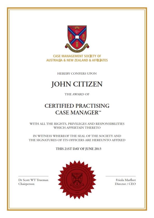 criminal justice case manager certificate