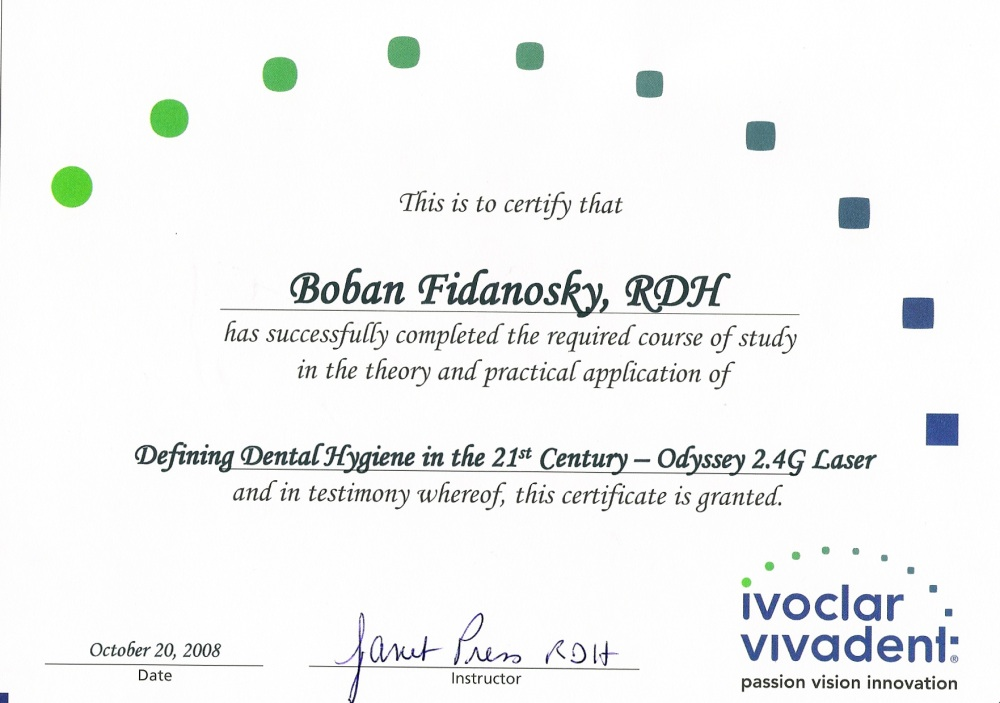 dental hygienist certificate example