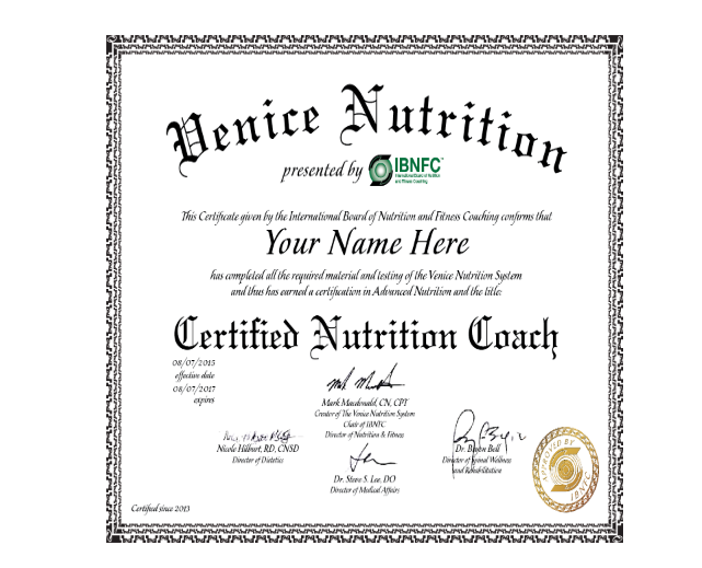 nutritionist certification example