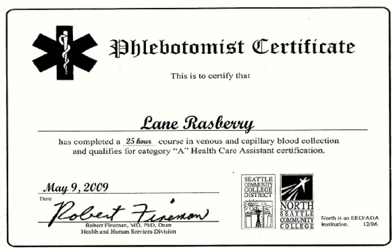 phlebotomy certificate example
