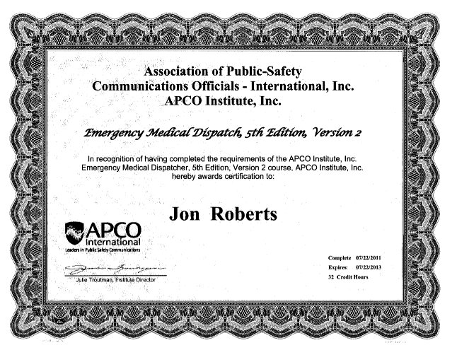 public safety dispatcher certification