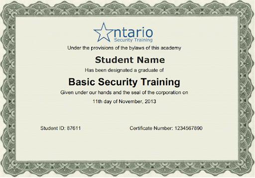 security guard certificate