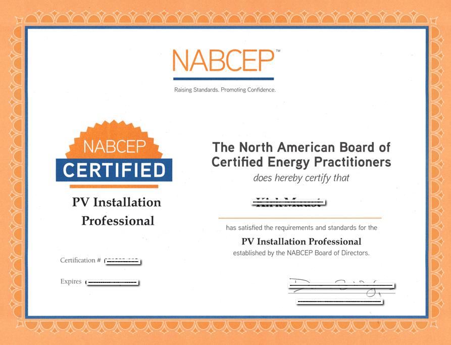 Solar Panel Installer Certificate
