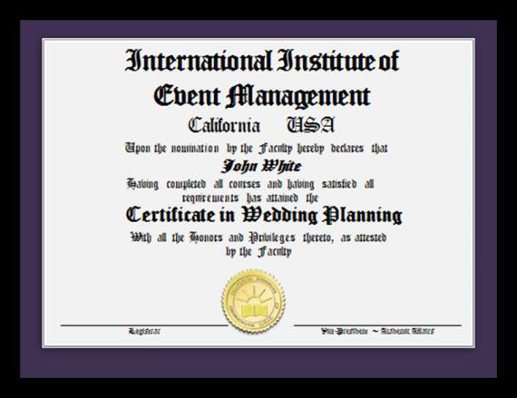 wedding planning certificate